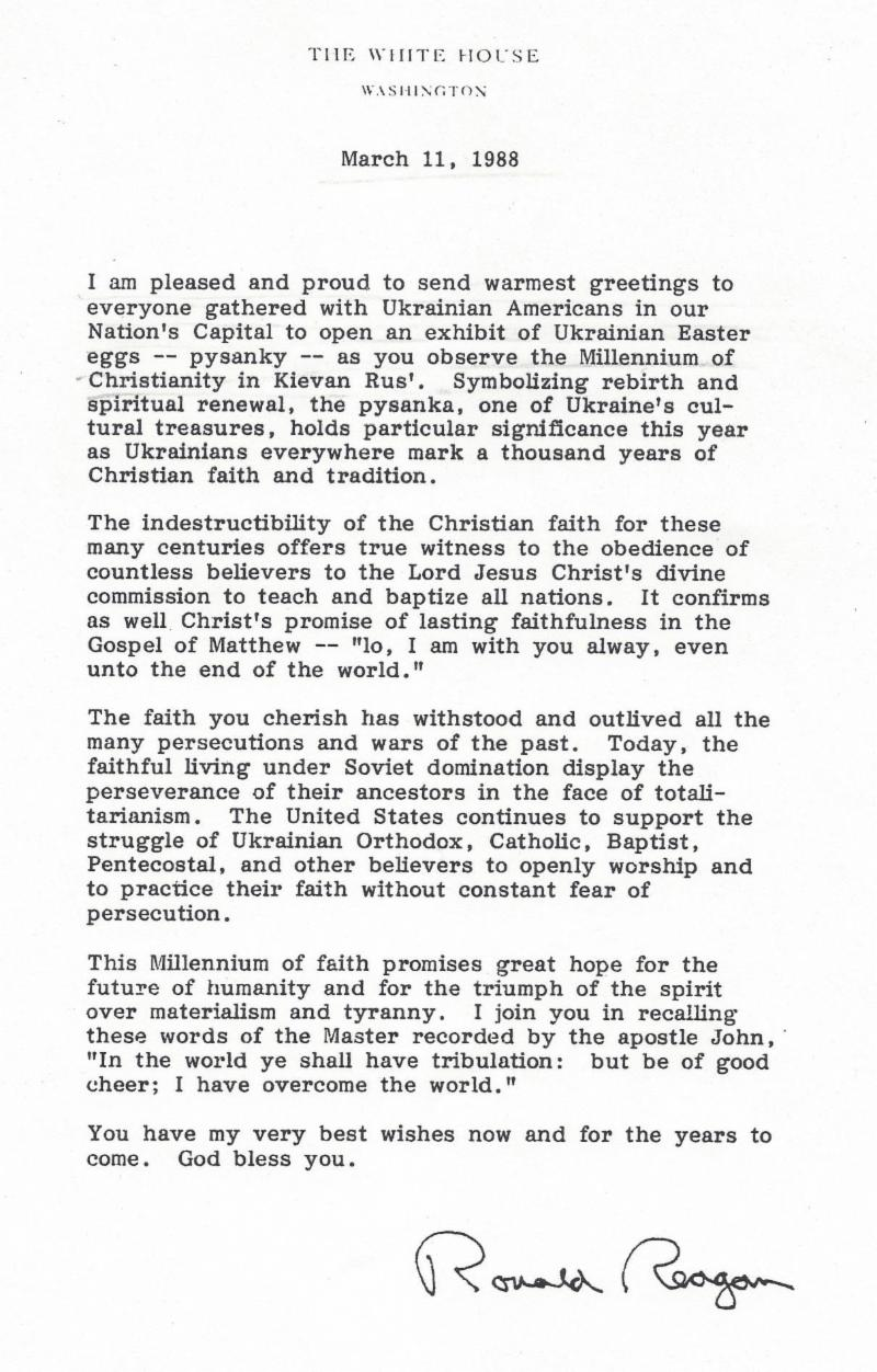 Us ukraine foundation newsletter issue 4 us ukraine business president reagan sent the following greeting on the occasion of the pysanka exhibit in congress kristyandbryce Image collections