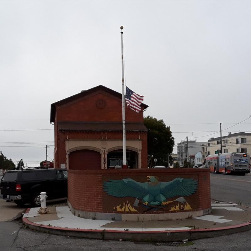 Flag Half Mast Honors McCain at San Francisco Fire Station