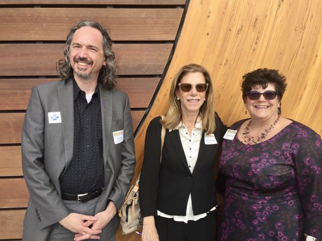 CLA President Glenn Grube, Norwalk PL director Chris Bradley, and Jennifer Keohane enjoy a pre-meeting visit