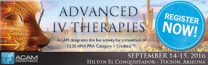 Ending Tomorrow: 15% Off ACAM's New Advanced IV Therapies Workshop