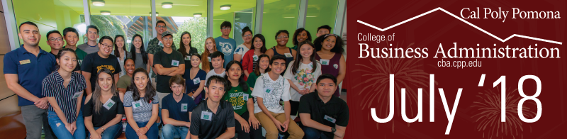 July Alumni newsletter header with group of student peer mentors standing in front of window with CBA Canopy in background