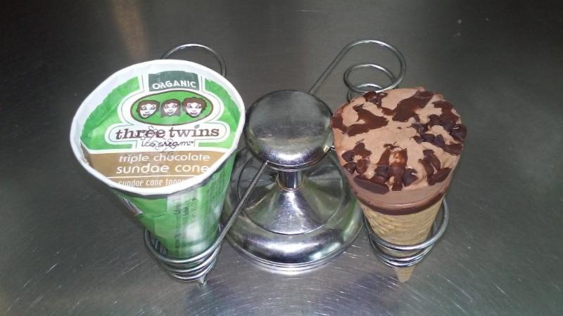 Three Twins chocolate sundae cone