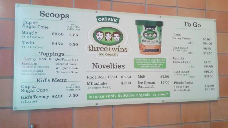 Three Twins menu