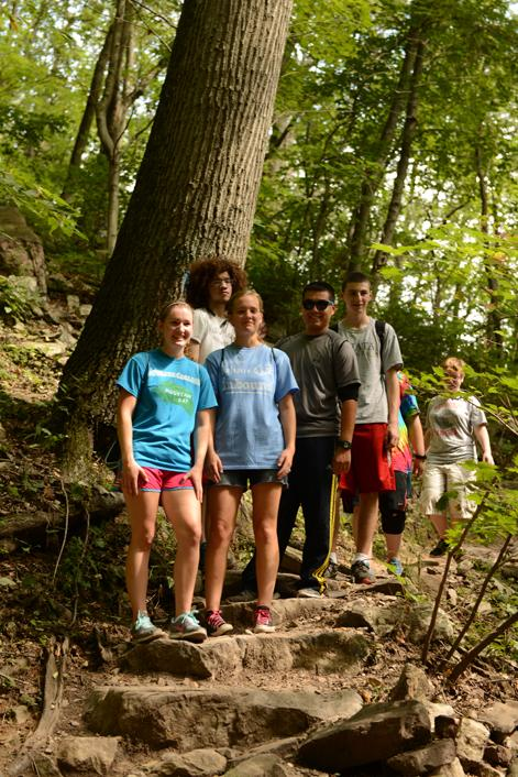 Juniata College students on the Thousand Steps section of the Standing Stone Trail