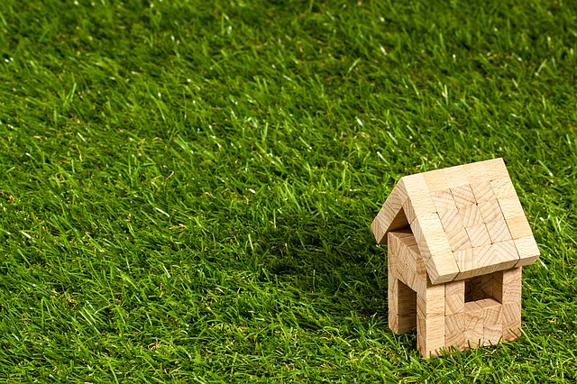 Toy house on artificial grass