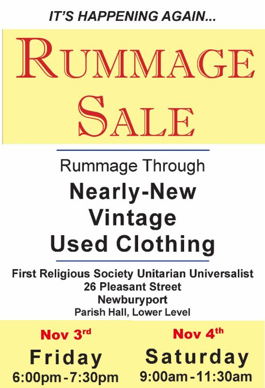 Rummage Sale Fri 6 to 730pm and Sat 9 to 1130am