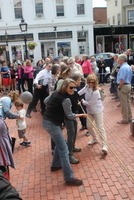 Community pulls rope of steeple bell