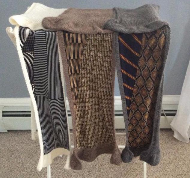 Three handmade scarves