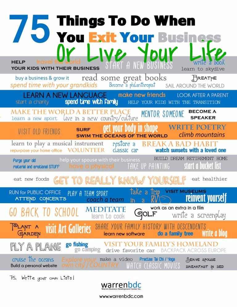75 things to do when you exit your business.