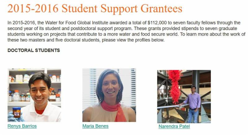 Student Support Grantee Screen Capture