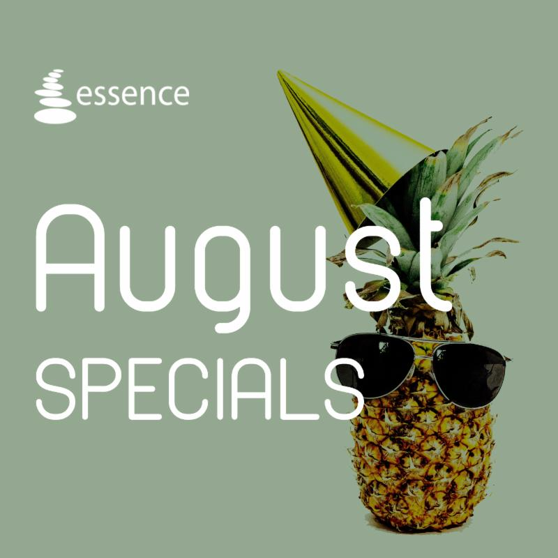 Pineapple wearing sunglasses behind August Specials