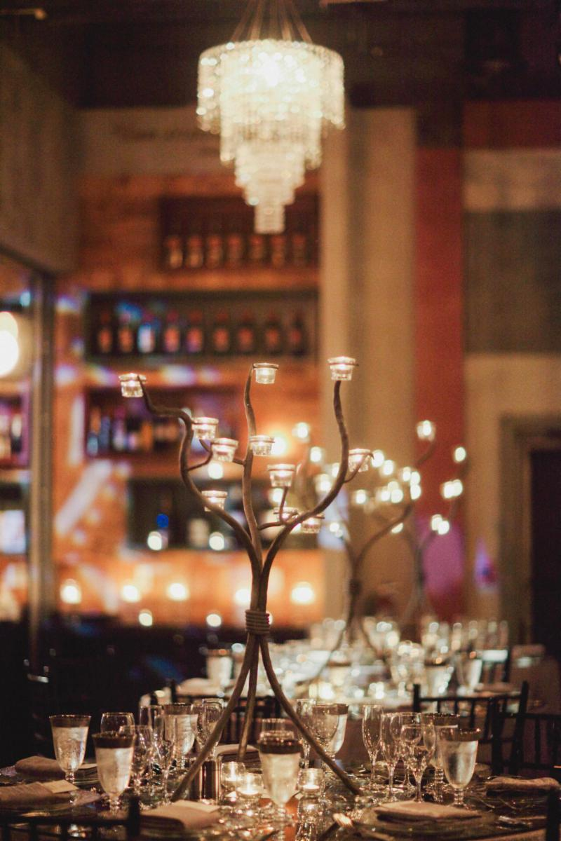 Candelabra and Chandelier in Wine Cellar