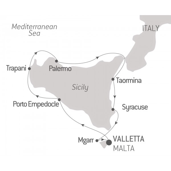 Ponant Itinerary Map - Sicilty with the Hiltons
