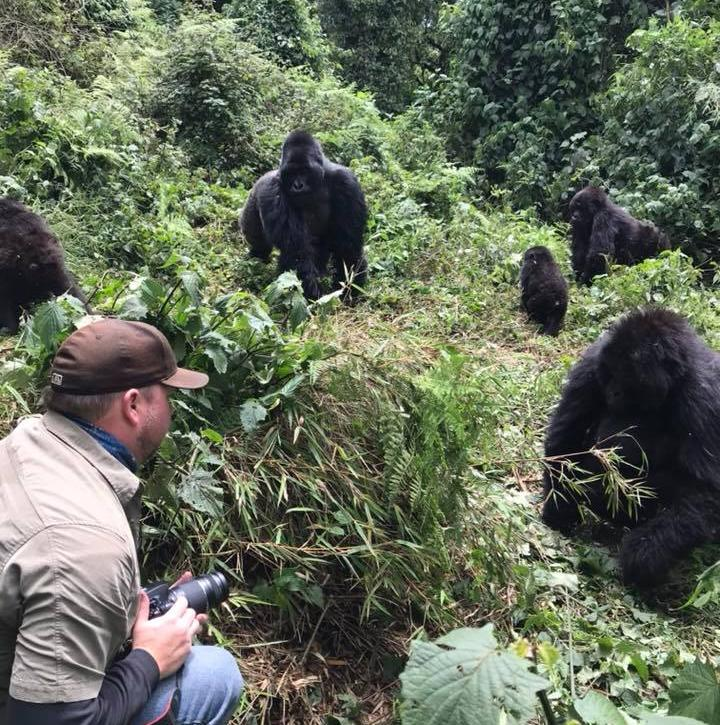 Michael Distler with Gorillas in Rwanda