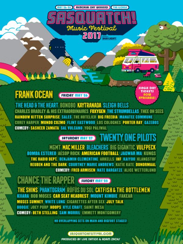 Sasquatch! Festival 2017 Lineup