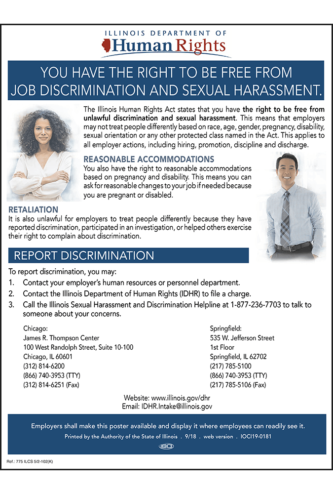 Dol sexual harassment poster illinois