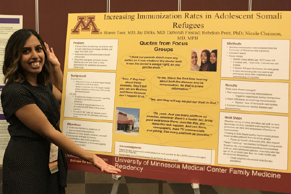 Sharon Toor, MD, of the University of Minnesota Medical Center Family Medicine Residency and her poster at the 2018 AAFP National Conference