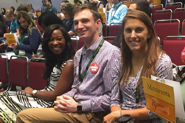 Minnesota resident representatives (l-r) Jay Sheree-Allen, MD, Ben Meyerink, MD, and Alex Gits, MD at the AAFP 2018 National Conference