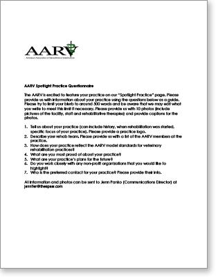 AARV Spotlight Practice questionnaire