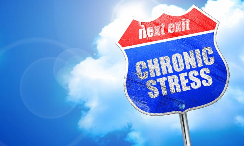 crhonic stress, 3D rendering, blue street sign