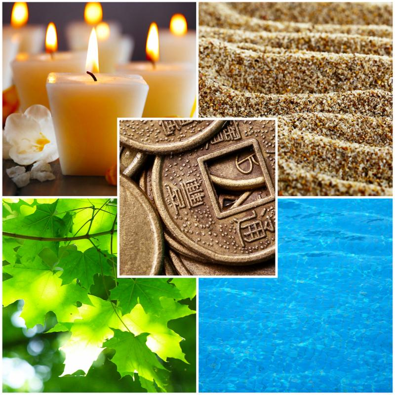 Collage of Feng Shui destructive cycle with five elements  water, wood, fire, earth, metal