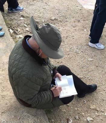 Peter Rodgers sketching 2018 pilgrimage