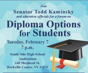 Join senator todd kaminsky and education officials for a forum on diploma options for students icon