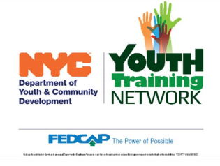 NYC Dept of Youth and Community development, youth training network, and fedcap logos