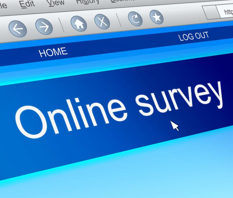 Illustration depicting a computer screen capture with an online survey concept.