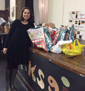 Lindsay Norman, manager of the Center for Volunteerism of the Jewish Federation of Metrowest, delivered bags of non-perishable food from Giving Tuesday event