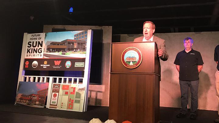 Carmel Mayor Jim Brainard speaks at the groundbreaking ceremony