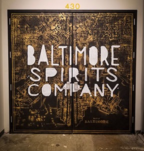 Doors to Baltimore Spirits Co in Union Collective