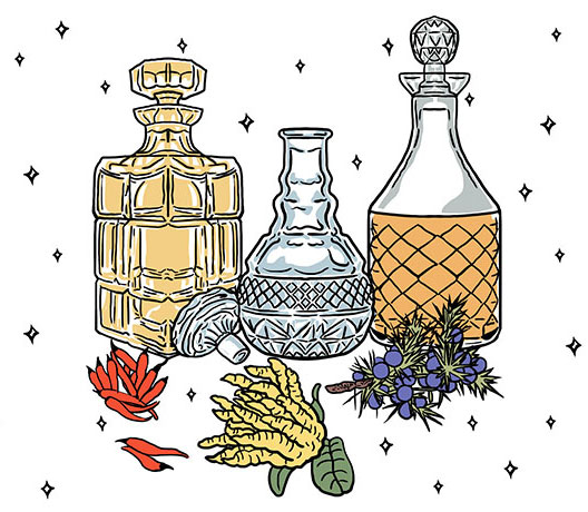 spirits decanters and chinese herbs and produce