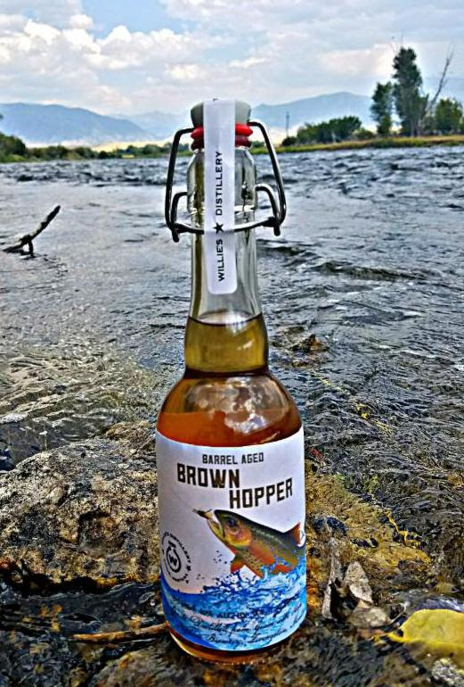 Brown Hopper bottle in stream
