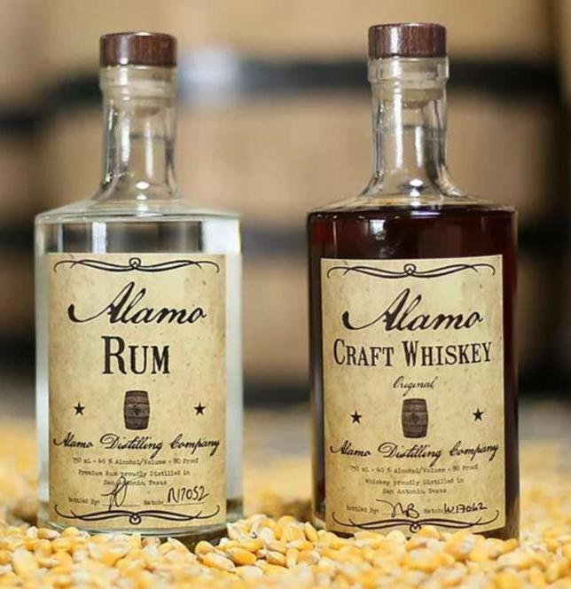 Alamo Distilling Co._s  rum_ whiskey bottles