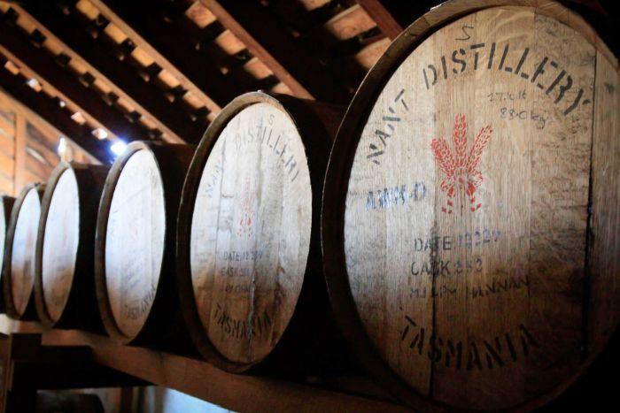Barrels at Nant Distillery in Tasmania