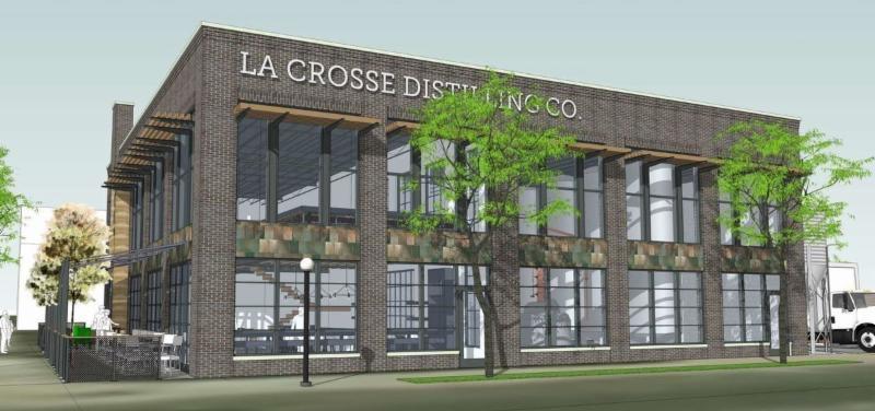 Architectural rendering of La Crosse Distilling Co. building