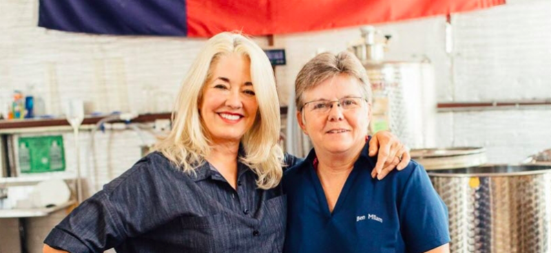 Marsha Milam_ founder of Ben Milam Whiskey with   Marlene Holmes. Distillery Trail photo