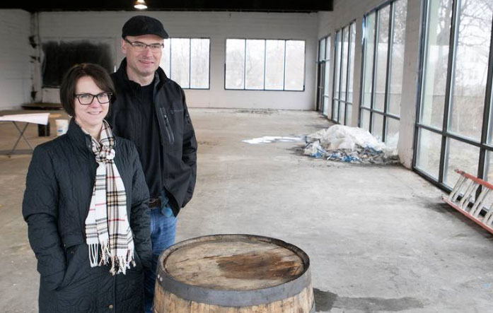 Whitney Reiser and Derik Reiser are starting work on the future Old Herald Brewing Co. microbrewery and Ardent Spirits_ Inc. craft distillery in Collinsville_ IL