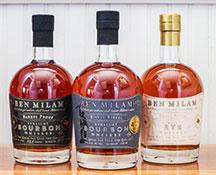 Ben Milam Whiskey bottles