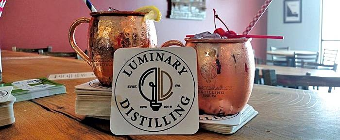 Luminary Distilling coaster and cocktails in the tasting room.