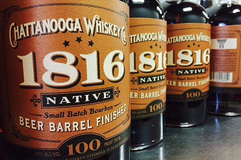 Chattanooga Whiskey Co. 1816 Native Beer Barrel Finished whiskey bottles