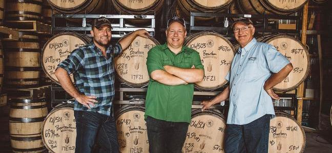 Owners of Whiskey Acres Distilling Co._ Nick Nagele_ from left_ Jamie Walter and Jim Walter at the distillery.