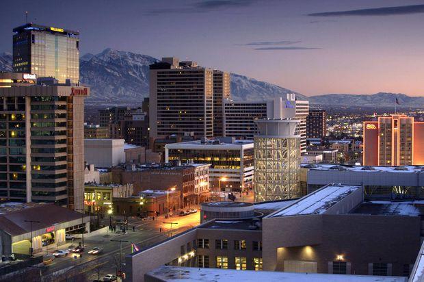 The Salt Lake City skyline at night.