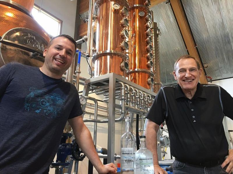 Adam Basla_ left_ and his father_ Mike_ are partners in Madison County Distillery
