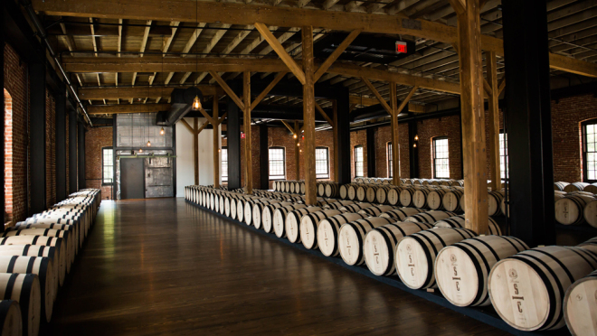 new barrels waiting to be filled at Savage _ Cooke Distillery