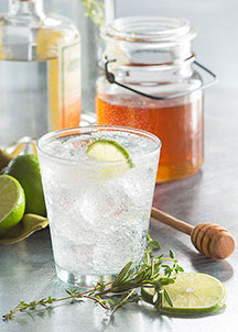 cocktail and honey jar