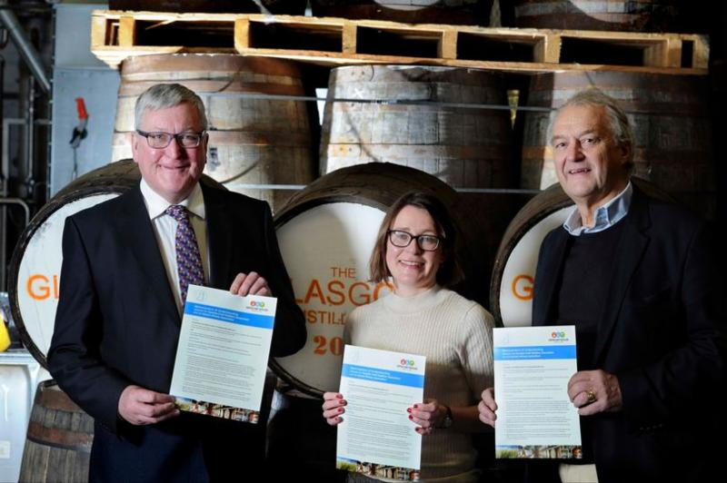 Cabinet Secretary for the Rural Economy Fergus Ewing_ Rosemary Gallagher_ head of communications with the Scotch Whisky Association_ and Alan Wolstenholme_ chairman of the Scottish Craft Distillers Association