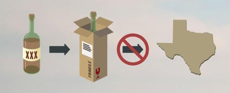 Graphic depicting shipping alcohol into Texas