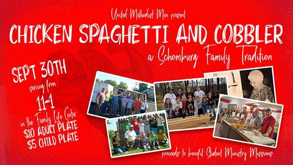 Chicken Spaghetti and Cobbler Dinner